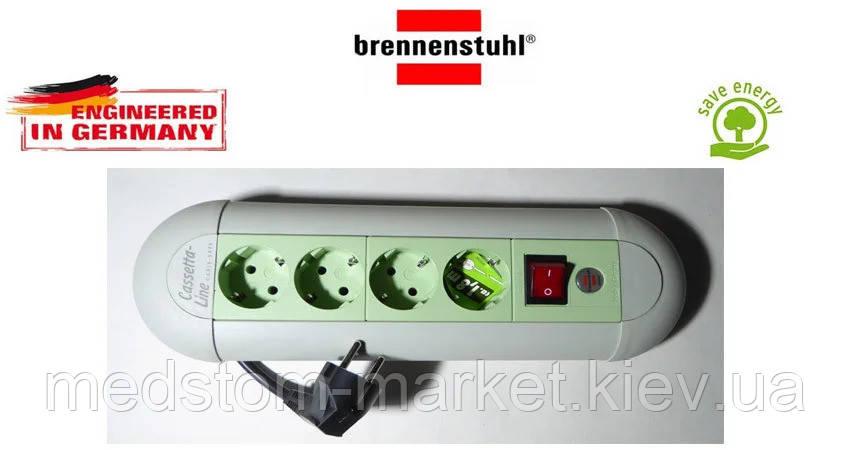 Подовжувач Brennenstuhl Casseta - Line на 4 розетки з кнопкою сіро-салатовий 1,8 м