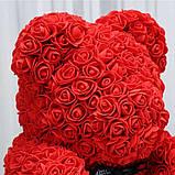 Мишко з 3D троянд 25 см в красивій подарунковій упаковці ведмедик Тедді з троянд, фото 5