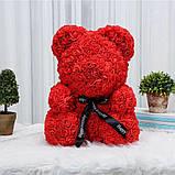 Мишко з 3D троянд 25 см в красивій подарунковій упаковці ведмедик Тедді з троянд, фото 6