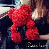Мишко з 3D троянд 25 см в красивій подарунковій упаковці ведмедик Тедді з троянд, фото 8