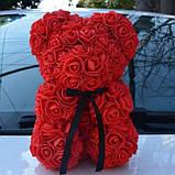 Мишко з 3D троянд 25 см в красивій подарунковій упаковці ведмедик Тедді з троянд, фото 9