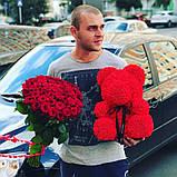 Мишко з 3D троянд 25 см в красивій подарунковій упаковці ведмедик Тедді з троянд, фото 10