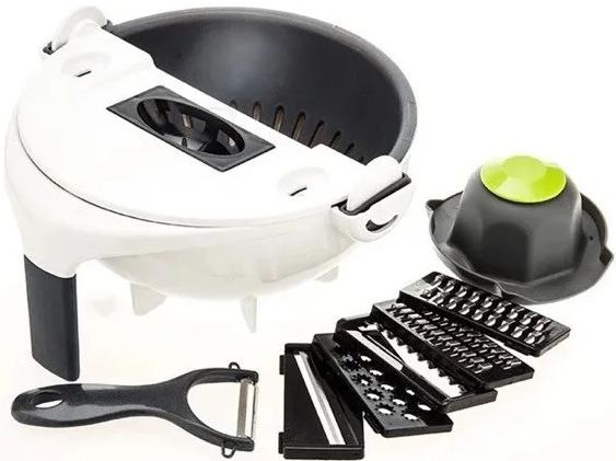 Багатофункціональна овочерізка-миска обертається WET BASKET / Кухонні терка для овочів та фруктів