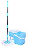 Швабра лентяйка Spin Mop 360 с турбо отжимом и ведром спин моп с металлической корзиной центрифугой, фото 5