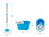 Швабра ледащо Spin Mop 360 з турбо віджимом і відром спін моп з металевою корзиною центрифугою, фото 7