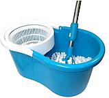 Швабра лентяйка Spin Mop 360 с турбо отжимом и ведром спин моп с металлической корзиной центрифугой, фото 9