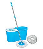 Швабра лентяйка Spin Mop 360 с турбо отжимом и ведром спин моп с металлической корзиной центрифугой, фото 10