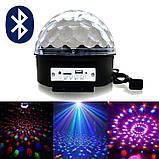 Музичний диско-куля з Bluetooth, USB, світломузикою, 2-я динаміками і пультом, фото 4