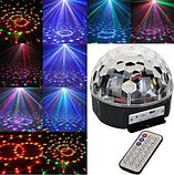 Музичний диско-куля з Bluetooth, USB, світломузикою, 2-я динаміками і пультом, фото 5
