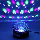 Музичний диско-куля з Bluetooth, USB, світломузикою, 2-я динаміками і пультом, фото 7