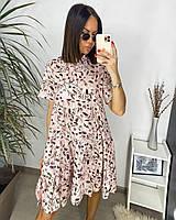 Платье с цветочным принтом/ воротником-стойкой женское (ПОШТУЧНО), фото 1