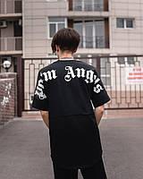 Стильная мужская футболка с принтом черная, модная футболка Palm Big print