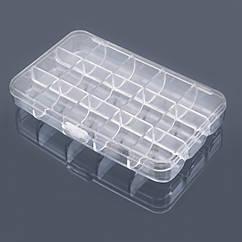 Контейнер для Бисера и Бусин, Пластик, 15 Отсеков, Цвет: Бесцветный, Прямоугольный, Размер: 150x92x25мм, 1 шт