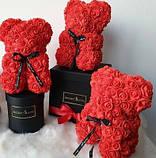 Мишко з 3D троянд 40см в красивій подарунковій упаковці ведмедик Тедді з троянд оригінальний подарунок, фото 2