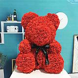 Мишко з 3D троянд 40см в красивій подарунковій упаковці ведмедик Тедді з троянд оригінальний подарунок, фото 4