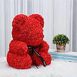 Мишко з 3D троянд 40см в красивій подарунковій упаковці ведмедик Тедді з троянд оригінальний подарунок, фото 6