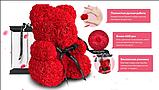 Мишко з 3D троянд 40см в красивій подарунковій упаковці ведмедик Тедді з троянд оригінальний подарунок, фото 10