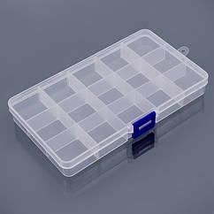 Контейнер для Бисера и Бусин, Пластик, Бесцветный, Прямоугольный, Размер: 10.5x18x2.2см, 1 шт