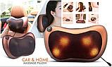 Масажна Подушка MASSAGE PILLOW QY-8028 Інфрачервоний роликовий масажер для шиї і спини Коричнева, фото 8