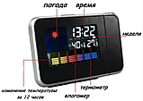 Годинник метеостанція з проектором часу на стіну Color Screen 8190 календар, фото 5