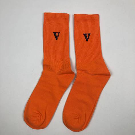 Носки Высокие Женские Мужские Vlone V Оранжевые 37-43, фото 2