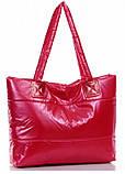 Стильная Стеганная глянцевая дутая сумка, фото 3
