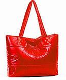 Стильная Стеганная глянцевая дутая сумка, фото 4
