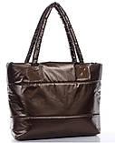 Стильная Стеганная глянцевая дутая сумка, фото 5