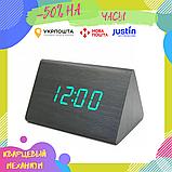 Электронные настольные часы-будильник Led Wood Clock VST-864-1 / Часы с будильником, датой и термометром, фото 2