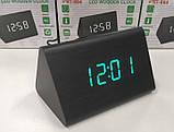 Электронные настольные часы-будильник Led Wood Clock VST-864-1 / Часы с будильником, датой и термометром, фото 3