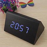 Электронные настольные часы-будильник Led Wood Clock VST-864-1 / Часы с будильником, датой и термометром, фото 5