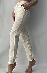БАТАЛЬНЫЕ женские летние штаны, № 123 ЛЕН молочный