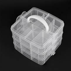 Контейнер для Бисера и Бусин, Пластик, 18 отсеков, Бесцветный, Прямоугольный, Размер: 15.5x16x13см, Отсек: