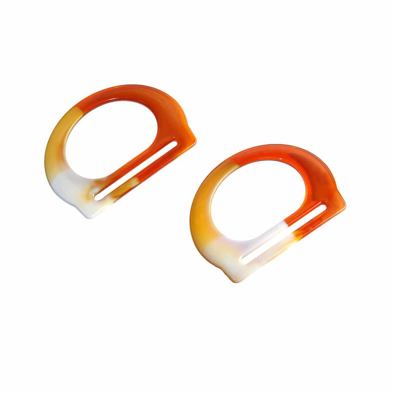 Комплект ручок сумки для пластикових Півкільце з прорізом 14х10 см Бурштинові