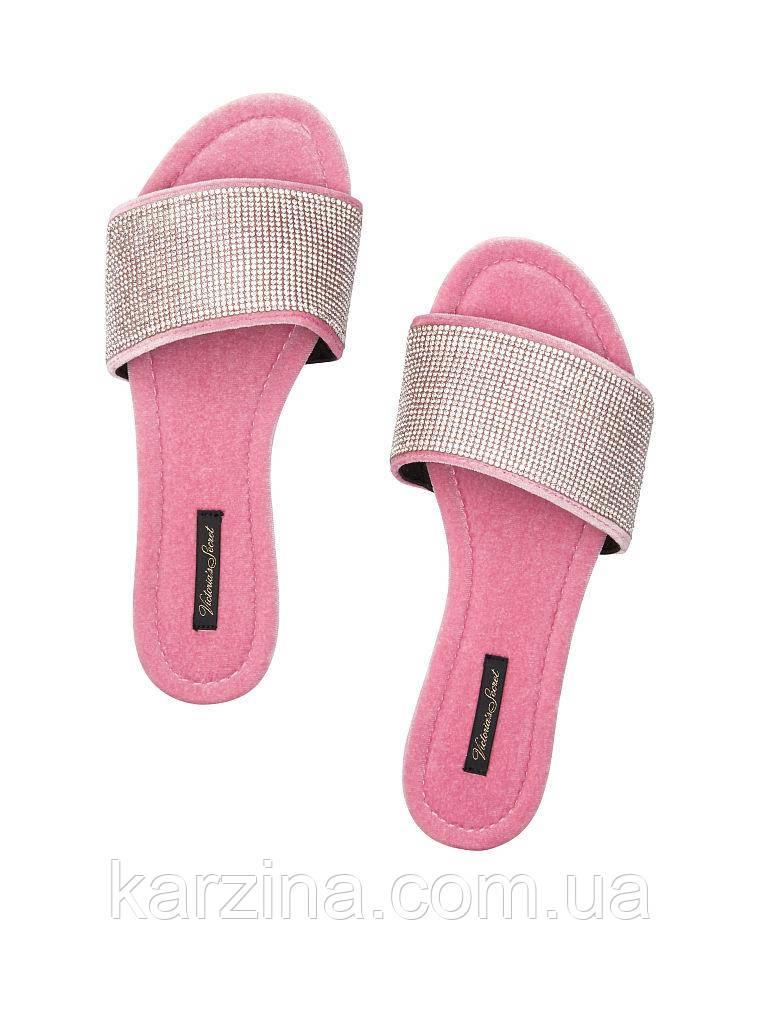 Велюровые тапочки со стразами в мешочке  Victoria's Secret Embellished Velvet Slides р.S (36-37)