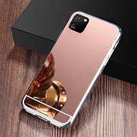Чехол Fiji Mirror для Huawei Y5p силикон зеркальный бампер розовое золото