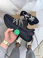 Женские кроссовки Yeezy Boost 350 Black*(Ref шнурки), фото 1
