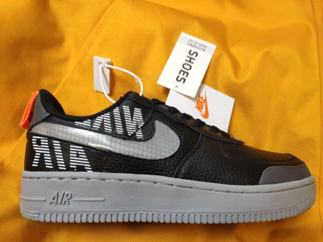 Мужские кроссовки Nike Air Force 1 Low '07 LV8 Utility (черно-серые) стильная обувь D114