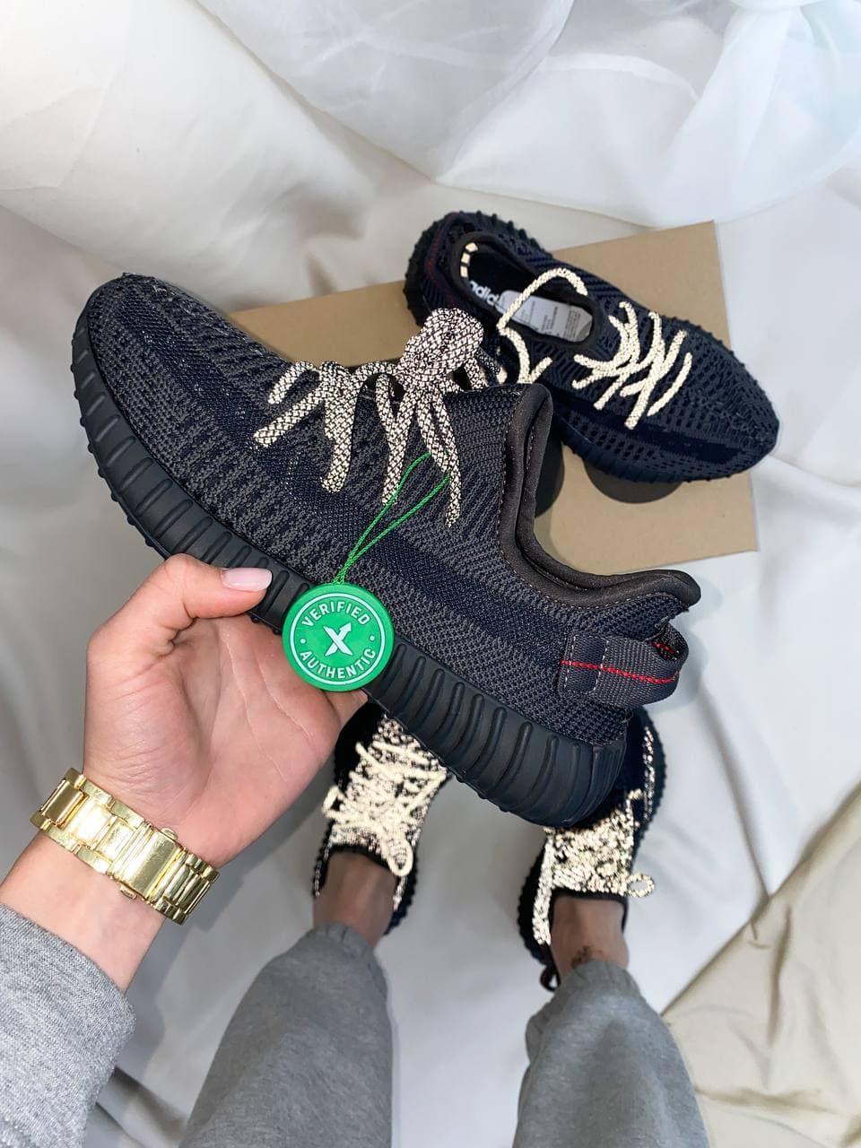Мужские кроссовки Yeezy Boost 350 Black*(Ref шнурки)