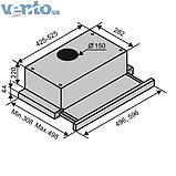 Вбудована, телескопічна кухонна витяжка Ventolux Garda 60 inox (750) IT нержавіюча сталь, фото 2
