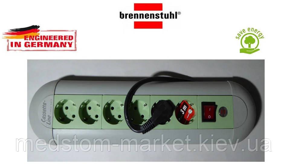 Подовжувач Brennenstuhl Casseta - Line на 6 розеток з кнопкою сіро-салатовий 3м