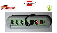 Подовжувач Brennenstuhl Casseta - Line на 6 розеток з кнопкою сіро-салатовий 3м, фото 1