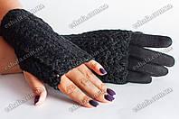 Кашемировые перчатки + митенки 2 в 1 черные