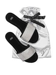 Велюровые тапочки со стразами в мешочке Victoria's Secret Embellished Velvet Slides  р.М (38-39)