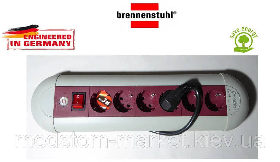 Подовжувач Brennenstuhl Casseta Line на 6 розеток з кнопкою сіро-бордовий 3м