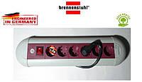 Подовжувач Brennenstuhl Casseta Line на 6 розеток з кнопкою сіро-бордовий 3м, фото 1