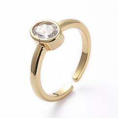 Кольцо Овал, Латунь + Фианит, Регулируемое, Цвет: Золото, Размер 17, 1 шт