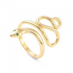 Кольцо Змея, Латунь + Фианиты, Стойкое Покрытие, Камни: Зеленые, Цвет: Золото, Размер 17, 1 шт