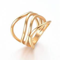 Кольцо, Нержавеющая Сталь 304, Цвет: Золото, Размер 17.0, 1 шт