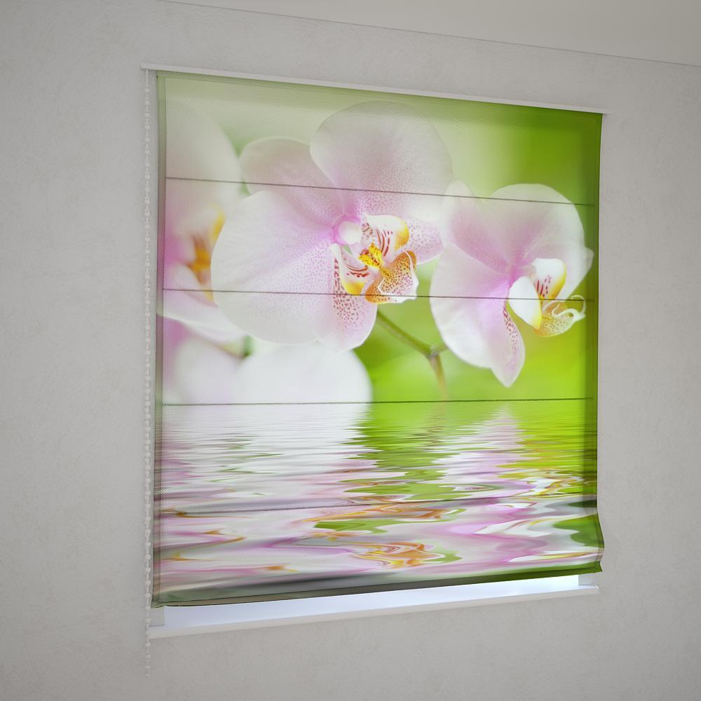Римские шторы 3д цветок орхидеи
